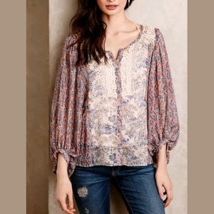 HD In Paris Chinoiserie Peasant Blouse Lace Floral